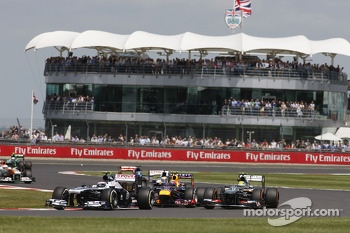Valtteri Bottas Williams FW35 leads Mark Webber Red Bull Racing RB9 and Esteban Gutierrez Sauber C32