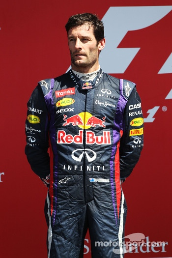 Mark Webber Red Bull Racing on the podium