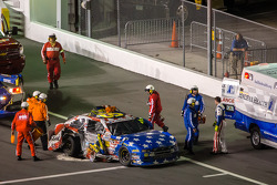 Travis Pastrana out of his car after the crash