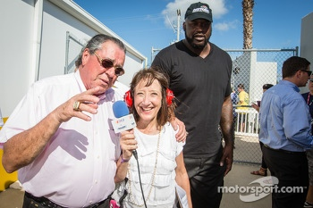 Felix Sabates share a laugh with SiriusXM Claire B. Lang while Shaquille O'Neal joins the party