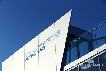 Mercedes AMG F1 logo on the motorhome