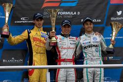 Podium from left: Antonio Giovinazzi, Felipe Lopes Guimares and Jazeman Jaafar