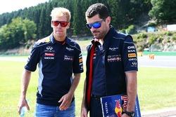 Sebastian Vettel, Red Bull Racing walks the circuit with Guillaume Rocquelin, Red Bull Racing Race Engineer.
