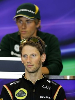 Romain Grosjean, Lotus F1 Team at the press conference.