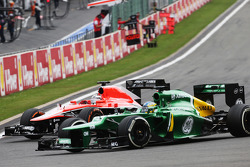 Jules Bianchi, Marussia F1 Team and Charles Pic, Caterham battle for position