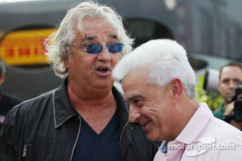 Flavio Briatore, with Jose Luis Alonso, Ferrari