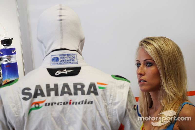 Adrian Sutil, Sahara Force India F1 with girlfriend Jennifer Becks