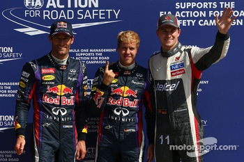 Pole position for Sebastian Vettel, Red Bull Racing, 2nd for Mark Webber, Red Bull Racing and 3rd for Nico Hulkenberg, Sauber