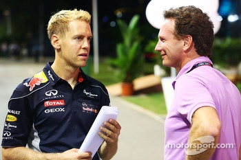 Sebastian Vettel, Red Bull Racing with Christian Horner, Red Bull Racing Team Principal