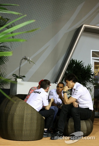 Lewis Hamilton, Mercedes AMG F1 Shareholder and Executive Director and Niki Lauda, Mercedes Non-Executive Chairman 20