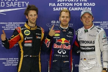 pole for Sebastian Vettel, Red Bull Racing, 2nd for Nico Rosberg, Mercedes AMG F1 and 3rd for Romain Grosjean, Lotus F1 Team