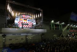 Sebastian Vettel, Red Bull Racing, Kimi Raikkonen, Lotus F1 Team and Fernando Alonso, Scuderia Ferrari