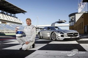 Mika Hakkinen with the Mercedes SLS AMG GT3