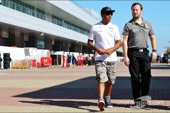Lewis Hamilton, Mercedes AMG F1 with Bradley Lord, Mercedes AMG F1 Communications Manager
