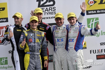 Round 25 Podium; 1st Jason Plato, 2nd Sam Tordoff, 3rd Matt Neal, Independent Winner Colin Turkington, JST Winner Lea Wood
