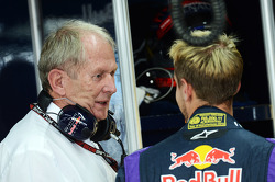 Dr Helmut Marko, Red Bull Motorsport Consultant with Sebastian Vettel, Red Bull Racing