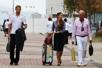 (L to R): Jenson Button, McLaren with girlfriend Jessica Michibata