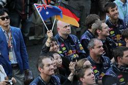 Red Bull Racing celebrates at the podium