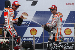 Race winner Dani Pedrosa, second place Marc Marquez