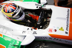 James Calado, Sahara Force India VJM06 Test Driver carrying the hashtag # masterblaster as a tribute to the legendary crickerter Sachin Tendulkar, who has recently announced his retirement from all forms of cricket