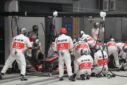 Sergio Perez, McLaren MP4-28 makes a pit stop