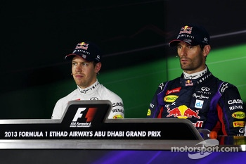 (L to R): Sebastian Vettel, Red Bull Racing and pole sitter Mark Webber, Red Bull Racing in the FIA Press Conference