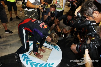 Race winner Sebastian Vettel, Red Bull Racing celebrates after the race