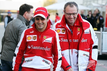 (L to R): Felipe Massa, Ferrari with Stefano Domenicali, Ferrari General Director