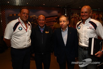 L to R Ing. Kurt Treml, Team Manager of Liqui Moly Team, Joao Manuel Costa Antunes,  The coordinator of Macau Grand Prix Committee, Jean Todt, Fia President,  Franz Engstler, BMW E90 320 TC, Liqui Moly Team