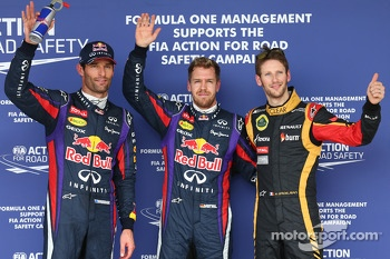 Polesitter Sebastian Vettel, second place Mark Webber, third place Romain Grosjean