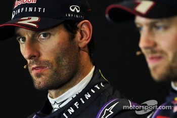 Mark Webber, Red Bull Racing and team mate Sebastian Vettel, Red Bull Racing in the FIA Press Conference