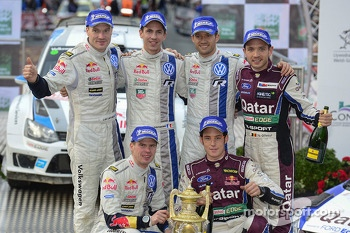 Winners Sébastien Ogier and Julien Ingrassia, second place Jari-Matti Latvala and Miikka Anttila, third place Thierry Neuville and Nicolas Gilsoul