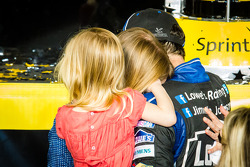 Championship victory lane: NASCAR Sprint Cup Series 2013 champion 2013 Jimmie Johnson, Hendrick Motorsports Chevrolet celebrates with his wife Chandra and their daughter