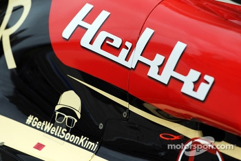 Get well soon message for Kimi Raikkonen, on the Lotus F1 E21 of Heikki Kovalainen