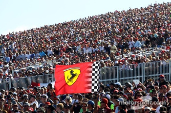 Fans and a Ferrari flag
