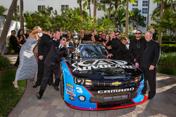 NASCAR Nationwide Series champion driver trophy Austin Dillon with his team