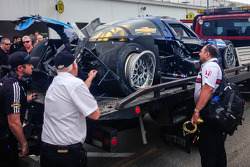 Heavy damage on the #90 Spirit Of Daytona Corvette DP after a massive crash