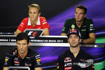 The FIA Press Conference: Max Chilton, Marussia F1 Team; Giedo van der Garde, Caterham F1 Team; Mark Webber, Red Bull Racing; Jean-Eric Vergne, Scuderia Toro Rosso