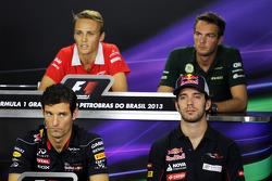 The FIA Press Conference: Max Chilton, Marussia F1 Team; Giedo van der Garde, Caterham F1 Team; Mark Webber, Red Bull Racing; Jean-Eric Vergne, Scuderia Toro Rosso