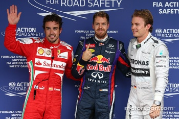 Pole for Sebastian Vettel, Red Bull Racing, 2nd for Nico Rosberg, Mercedes AMG F1 W04 and 3rd for Fernando Alonso, Ferrari