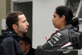 (L to R): Nicolas Todt, Driver Manager talks with Monisha Kaltenborn, Sauber Team Principal