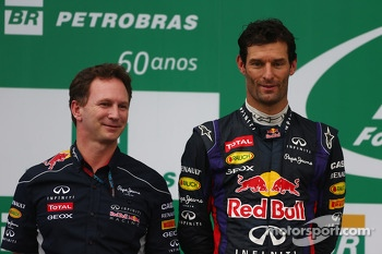 Christian Horner, Red Bull Racing Team Principal and Mark Webber, Red Bull Racing RB9