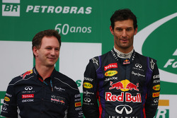 Christian Horner, Red Bull Racing Team Principal and Mark Webber, Red Bull Racing RB9