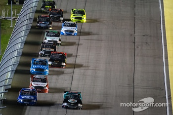 Darrell Wallace Jr. and Ben Kennedy lead a group of trucks