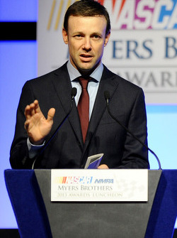 Matt Kenseth speaks onstage after winning the Mobil 1 Driver of the Year at the NMPA Myers Brothers Awards Luncheon