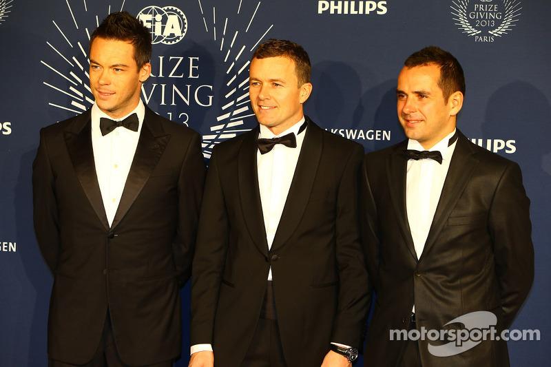 (L to R): Andre Lotterer, Marcel Fässler, Benoit Tréluyer, Audi Sport Team Joest