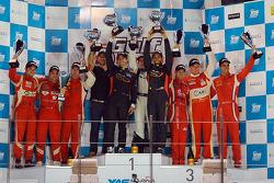Overall podium: winners Khaled Al Qubaisi, Bernd Schneider, Jeroen Bleekemolen
