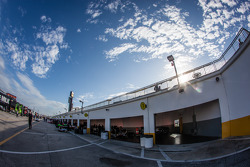 Garage ambiance with empty garage stall at Chip Ganassi Racing