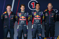 Christian Horner, Red Bull Racing Team Principal, Sebastian Vettel, Red Bull Racing, Daniel Ricciardo, Red Bull Racing and Adrian Newey, Red Bull Racing Chief Technical Officer at the unveiling of the new Red Bull Racing RB10