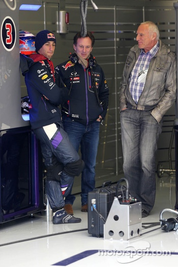 Daniel Ricciardo, Red Bull Racing, Christian Horner, Red Bull Racing, Sporting Director and Dietrich Mateschitz, Owner of Red Bull
